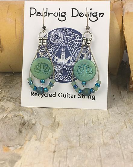 Lotus Guitar String Earrings