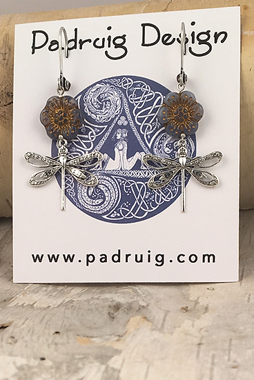 Silver Periwinkle Wild Rose Dragonfly Earrings