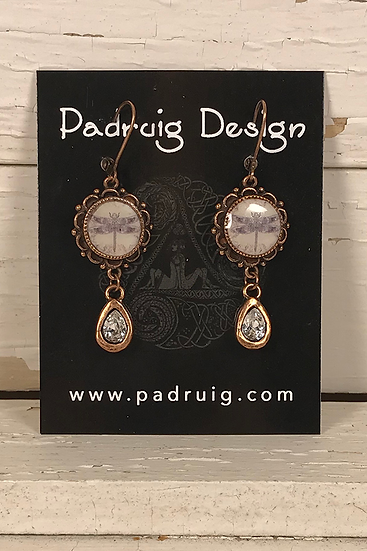 Copper Dragonfly Earrings with Crystal Drop