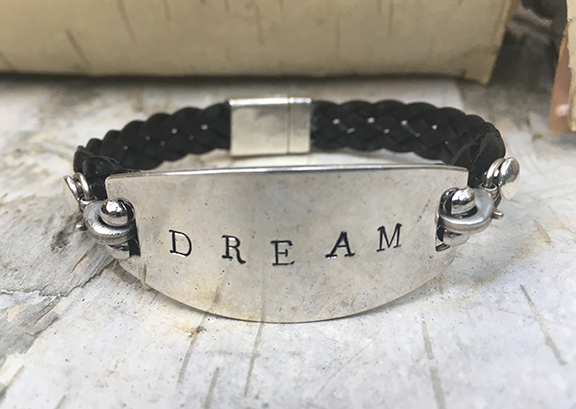 Hand Stamped Dream Black Leather Bracelet