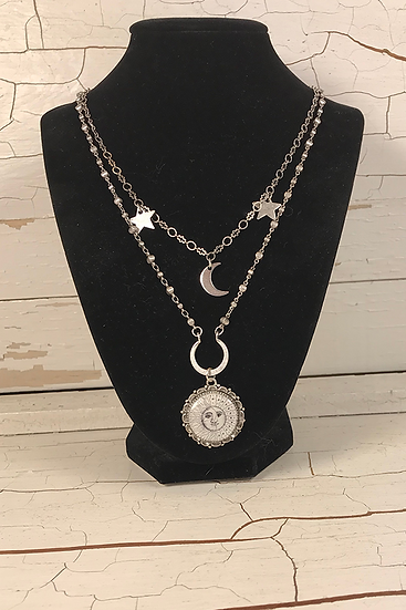 Silver Sun, Moon, & Stars Double Necklace