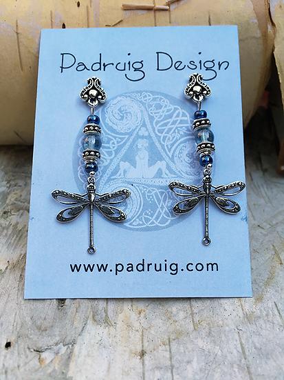 Silver Blue Dragonfly Earrings