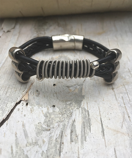 Black Leather Electric Guitar String Bracelet