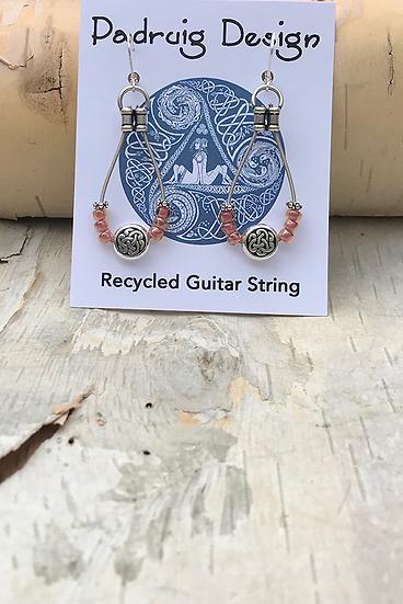 Rose Lined Amber Bass String Earrings