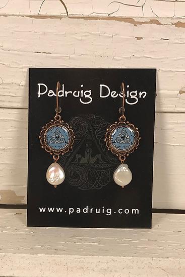 Copper Azure Tri Fitheach Earrings