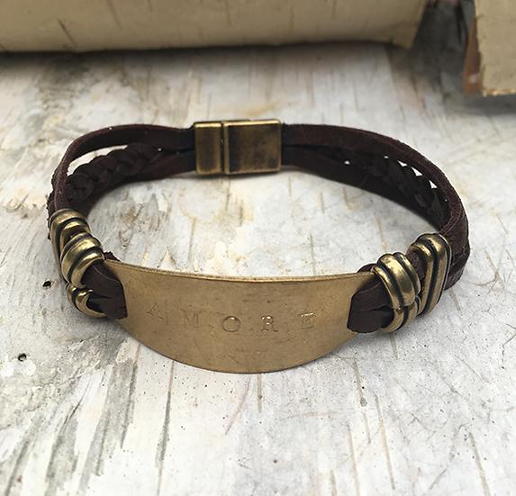 Brown Deerskin Lace Amore Bracelet