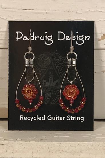 Scarlet Rose Guitar String Earrings