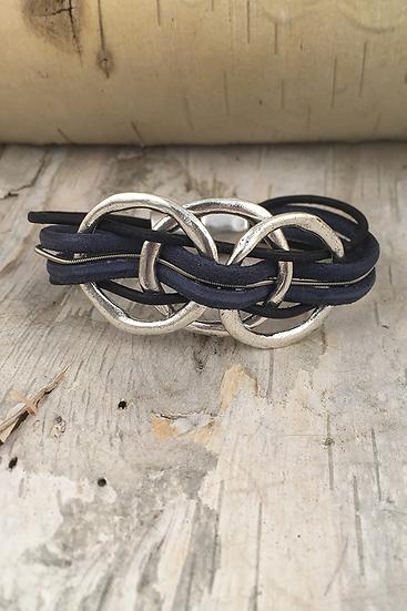 Silver 3 Circle Guitar String Bracelet