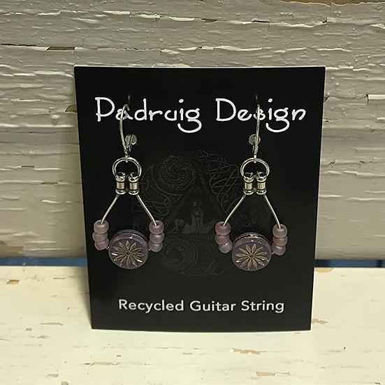 Lavender Aster Guitar String Earrings