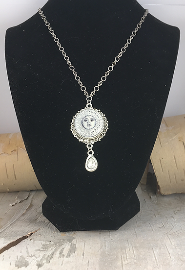 Silver Sun, Moon, & Stars with Crystal Drop Necklace