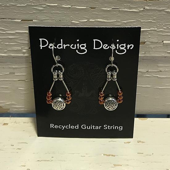 Siam Ruby Celtic Guitar String Earrings