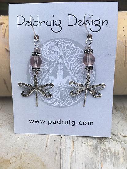 Silver and Rose Dragonfly Earrings