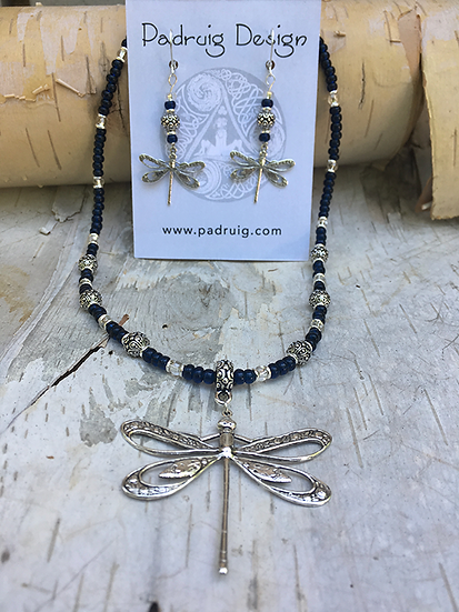 Silver Dragonfly Set Capri Blue