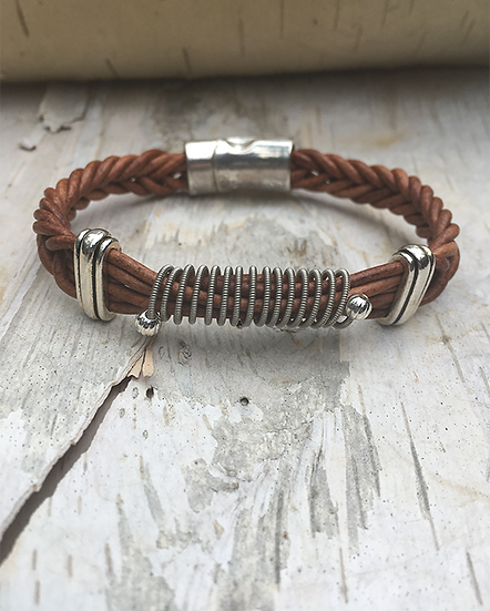 Brown Leather Electric Guitar String Bracelet