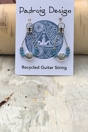 Matte Azure Blue Bass String Earrings