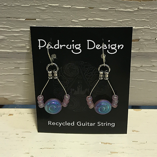 Lavender Spiral Guitar String Earrings