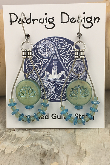 Lotus Aqua Guitar String Earrings