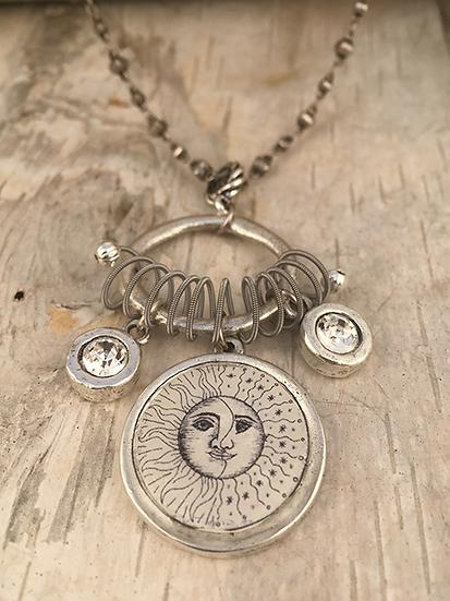 Silver Sun, Moon, & Stars Necklace