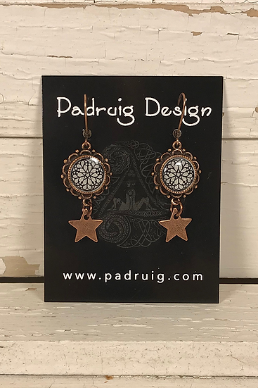 Copper Troyes Star Earrings with Star Accents