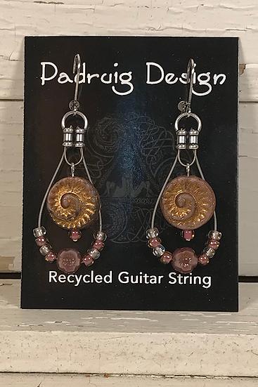Fossil Guitar String Earrings