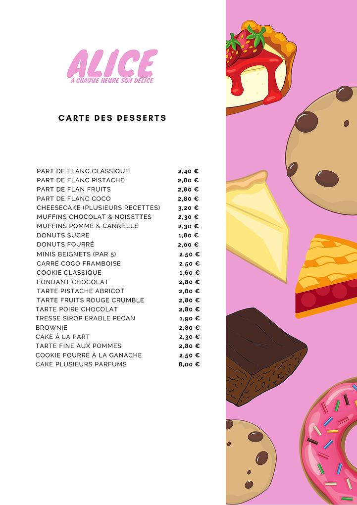 carte des desserts alice