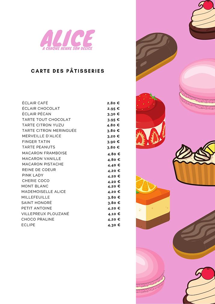 carte pâtisseries maison alice