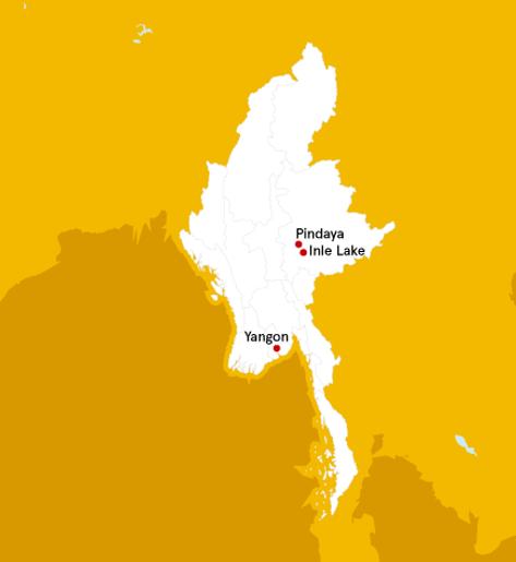 map of Myanmar with Pindaya