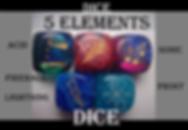 dice, elements dice, element dice, 5 elements, designer dice, dice master