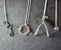 handmade silver necklaces, wishbon, star orbit, key and star seed