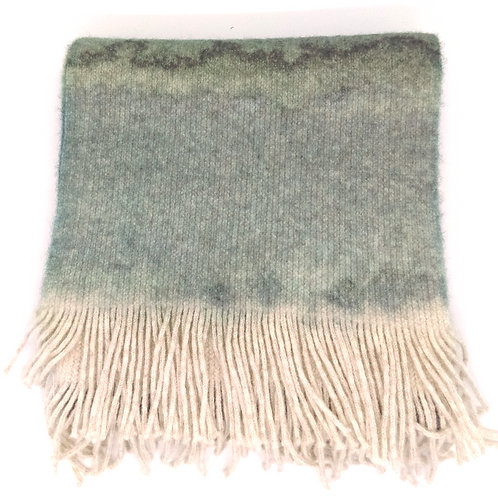 Watercolour Landscape knitted lambswool scarf