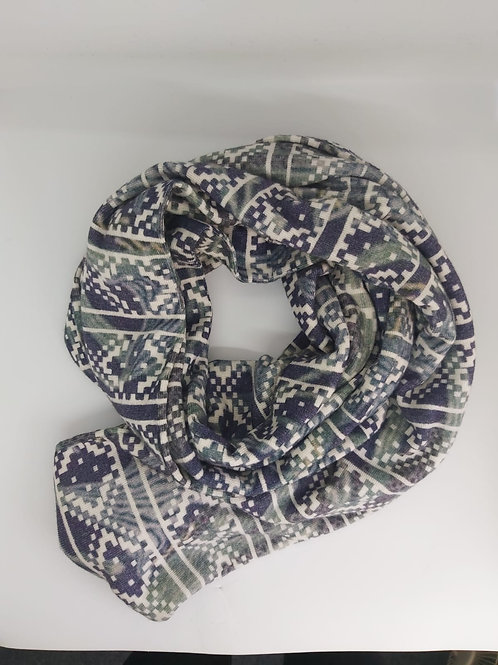 Nordic patterned double sided wool scarf