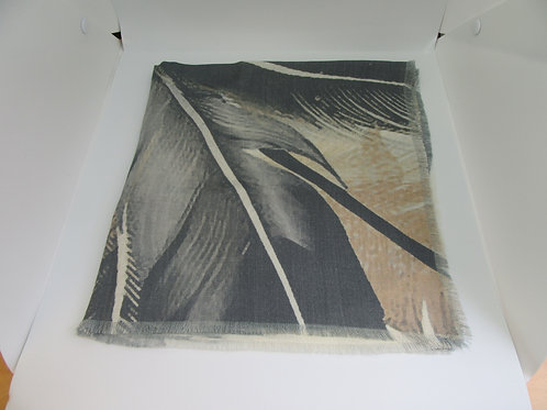 Feather design wool twill scarf