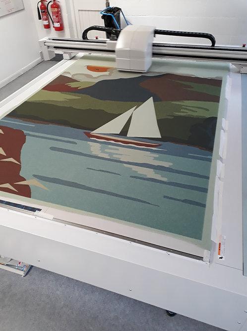 Vintage wool blanket with landscape print
