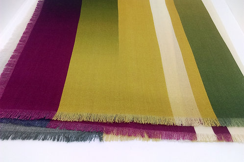 Graded stripe fine wool scarf
