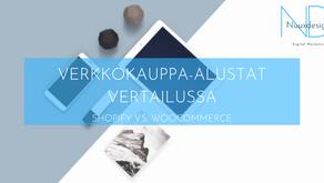 BLOG | VERKKOKAUPPA-ALUSTAT VERTAILUSSA SHOPIFY VS. WOOCOMMERCE | Nuuxdesign.
