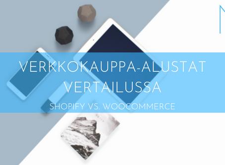 BLOG   VERKKOKAUPPA-ALUSTAT VERTAILUSSA SHOPIFY VS. WOOCOMMERCE   Nuuxdesign.