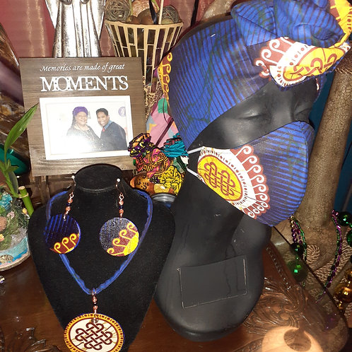 Royal African Print Face Mask and HeadWrap Set