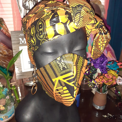 African Print Head Wrap and Face Mask 2pc.Set