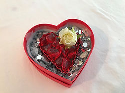 Heart Box with a Spray Rose Small 4 Inch