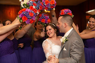 H4 Heather Bride and Groom with Bouquets