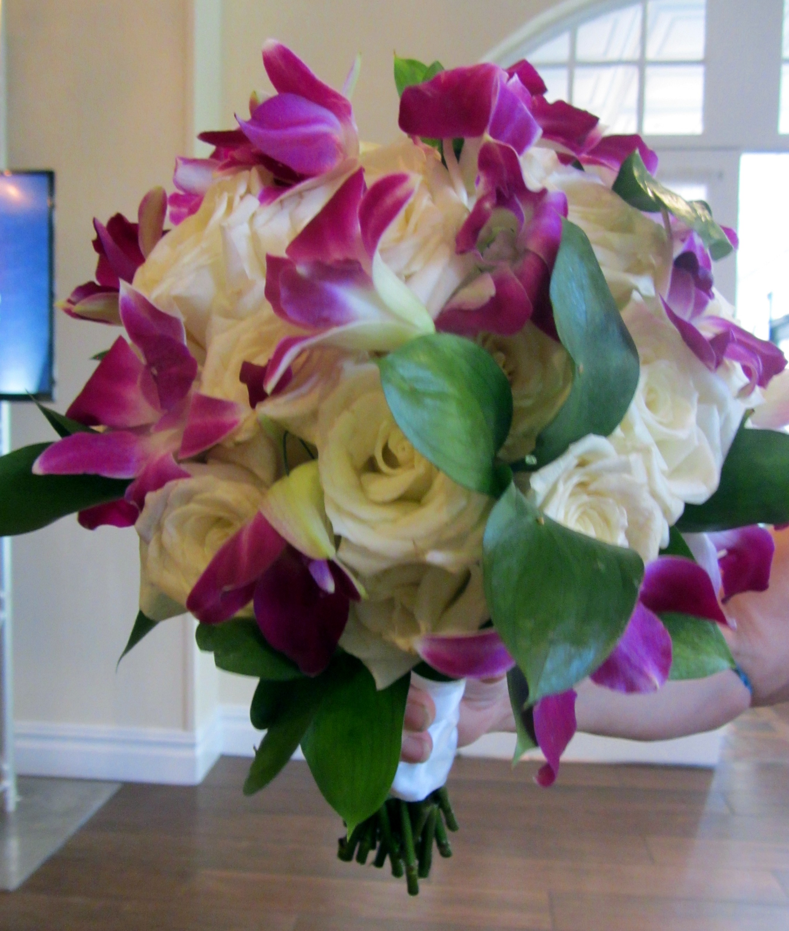 White Roses & Purple Dendrobium Orchids