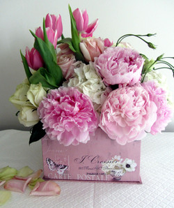 A Pretty Pink Box filled with flowers