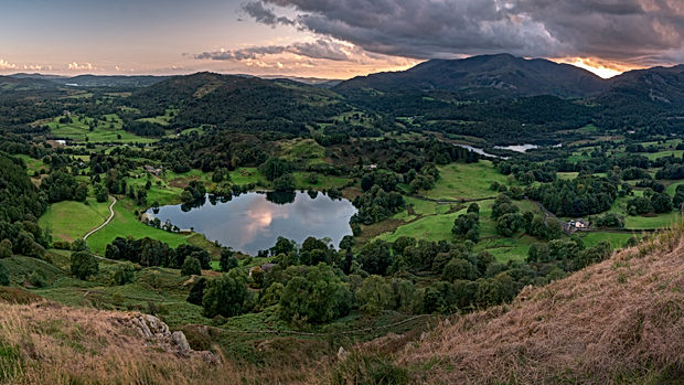 Loughrigg Tarn during Sunset, Lake Distr