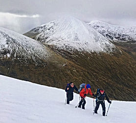 Winter walking in western scotland and Ben Nevis area