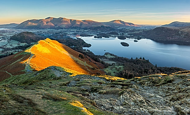 Panoramic view of Derwentwater in the La
