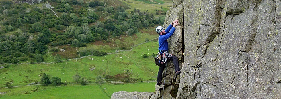 Lead climbing at Gouther Crag Swindale Lake District