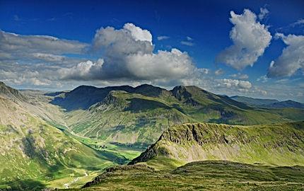 English Lake District mountains in summe