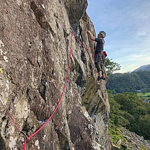 Rock climbing at Sherpherds Crag Borrowdale