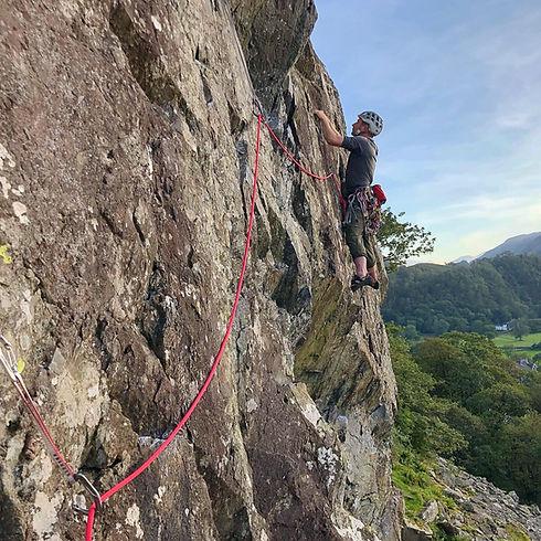 Rock climbing at Sherpherds Crag Borrowdale