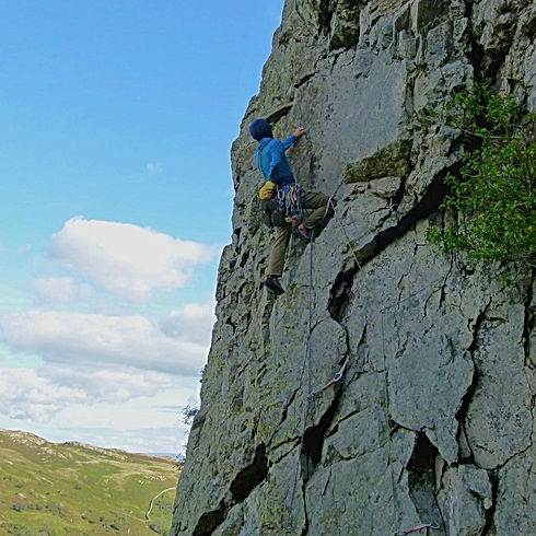 Rock climbing at Gouther Crag Lake District - The Fang VS 4c